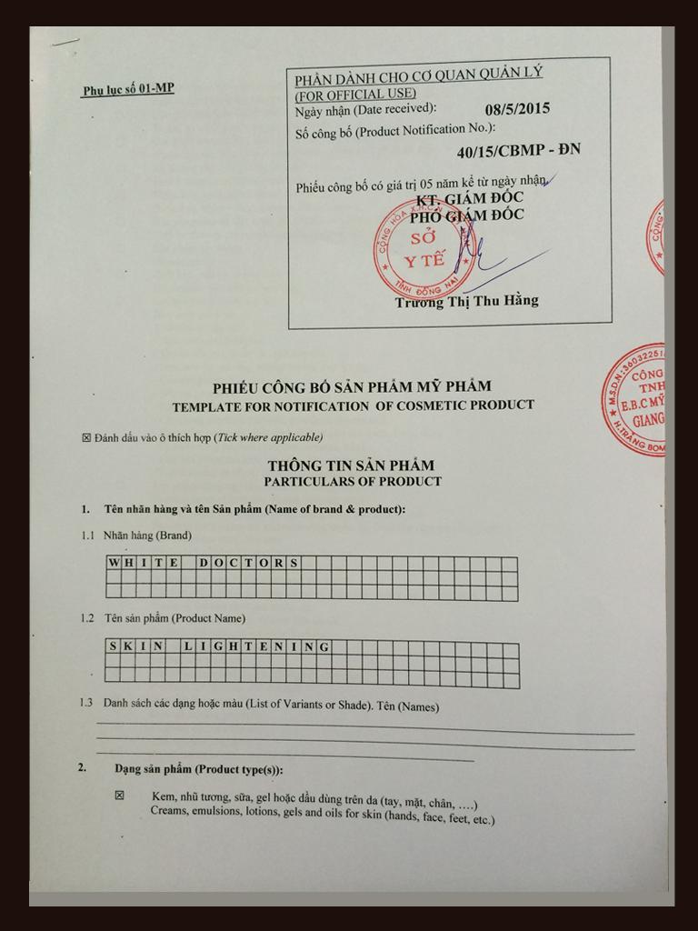 giấy chứng nhận y tế của white doctors